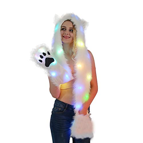 Animal Hood Hat Cap Scarf Gloves Mittens Faux Fur Fleece Lined Interior Anime Spirit Paws Ears Zipper Furry Hoodie (LED Cat) for $<!--$35.99-->