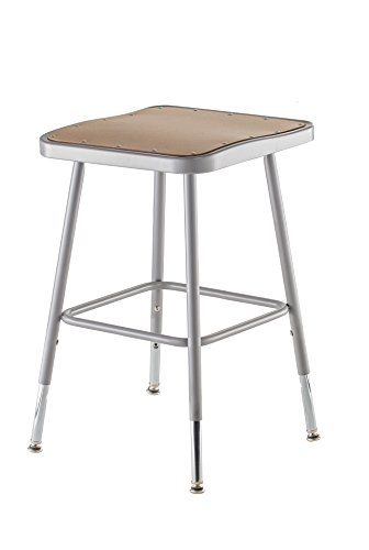 National Public Seating 6318H Grey Steel Stool with Square Hardboard Seat Adjustable, 19''-27'' by National Public Seating