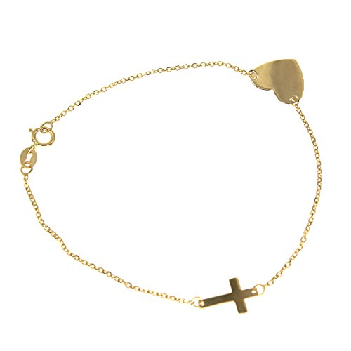 10K Yellow Gold DC Polished Heart Charm and Sideways Cross 7