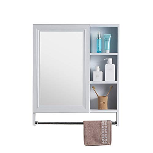 Peaceip US Aluminum Bathroom 1 Door Mirror Cabinet with Towel Rack, Toilet -