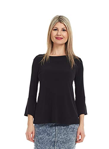 Esteez Women's Top Trumpet Sleeve Bell Blouse Blossom Black X-Large ()