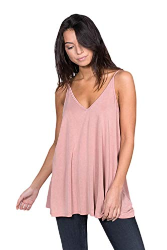 Alexander + David Women's Casual V-Neck Cupro Spaghetti Strap Open Back Loose Fit Flowy Tunic Tank Top (Mauve, Large)