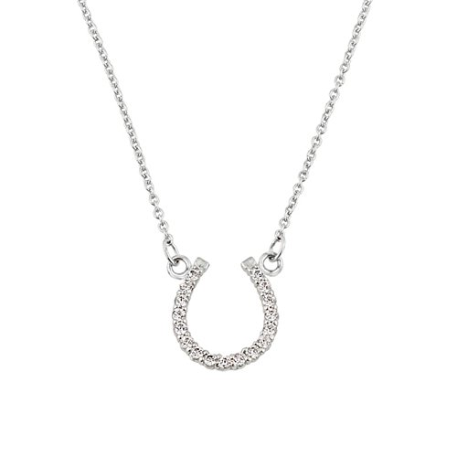 Fine 14k White Gold Lucky Horseshoe Charm with Diamond Necklace, 16