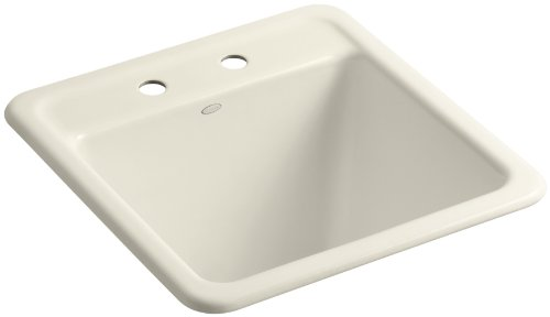 Kohler K-6655-2-47 Park Falls Self-Rimming Sink with Two-Hole Faucet Drilling, Almond