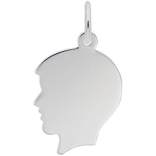 - Custom Engraving (up to 18 characters) Rembrandt Charms, Medium Boy Silhouette.925 Sterling Silver, Engravable