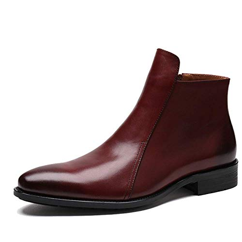Scarpe da Uomo Scarpe Alte Scarpe da Lavoro Set di Stivali di Pelle Stile Europeo Pelle Pura per Creare Scarpe da Lavoro,Red-brown-38