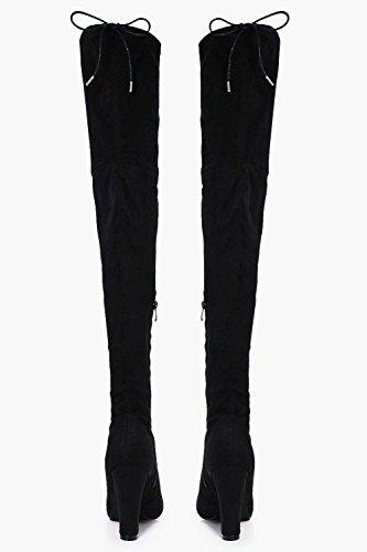 Schwarz Damen Rose Overknee-stiefel Mit Blockabsatz Schwarz