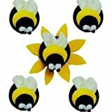 Edible Sugarcraft Cute Bee Insect Cake Toppers -Pack of 5 - Perfect for Decorating Your Cakes- Easy...