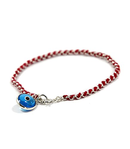 (Blue Evil Eye Charm on Red Kabbalah String in Sterling Silver Bracelet for Protection)