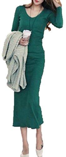 熱狂的なリーン倍増【B&D】 暖か 厚手 シンプル ニット マキシ ロング ワンピース ワンピース / 大人 エレガント スタイル レディース ファッション 大きい サイズ あります (グリーン, L)