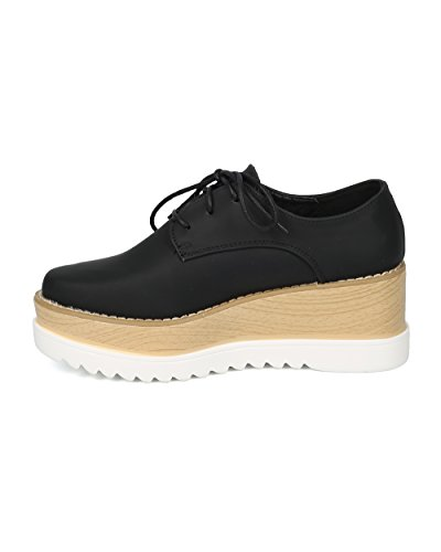 Alrisco Women Pointy Toe Lace Up Double Stacked Platform Spectator Creeper - HF53 by Cape Robbin Collection Black Leatherette tHHSenGf