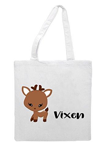 White Tote Character Festive Bag Shopper Vixen Reindeer Names Christmas q48xvFUw
