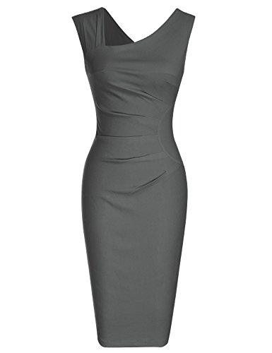 MUXXN Women's Classy Sleeveless Tea Length Formal Evening Dress (XL Gray)