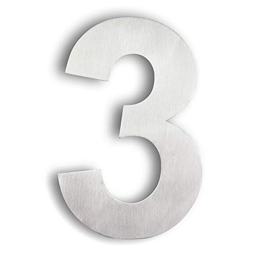 Mellewell Modern Floating House Numbers 6 Inch, Stainless Steel 18-8 Brushed Nickel, Number 3 Three