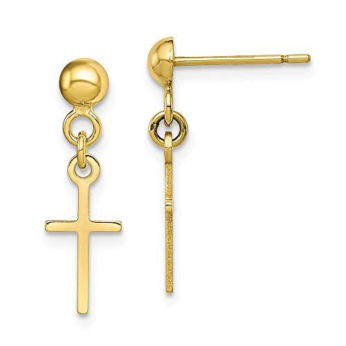 (10k Yellow Gold Cross Religious Drop Dangle Chandelier Post Stud Earrings Fine Jewelry Gifts For Women For)
