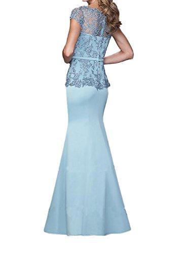 Blau Ballkleider mia Festlichkleider Spitze Dunkel Braut La Lang Abendkleider Navy Meerjungfrau Promkleider Brautmutterkleider Trumpet wXqnUOxHd