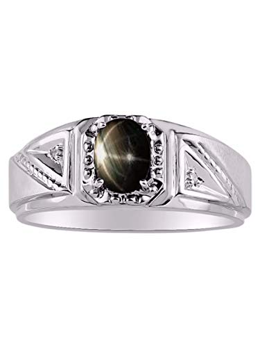 Genuine Diamond & Gorgeous Oval Black Star Sapphire Ring set in Sterling Silver .925