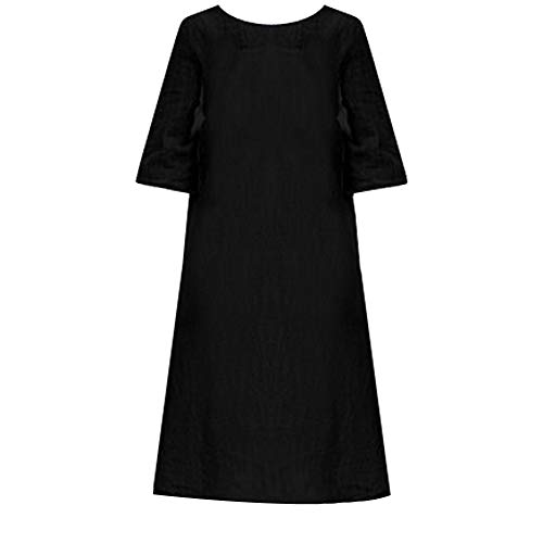 Women's Plus Size Cotton Straight Skirt Casual Embroidery Dress Solid Loose Short Sleeve Dress ANJUNIE(Black,2XL) (Johnny Formal Dress)