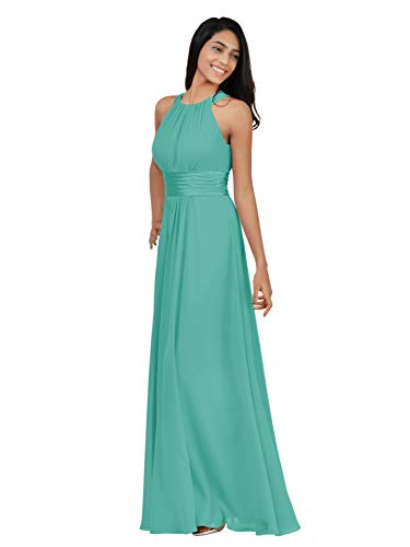 Alicepub Chiffon Bridesmaid Dresses Long for Women Formal Evening Party Prom Gown Halter, Tiffany, US8