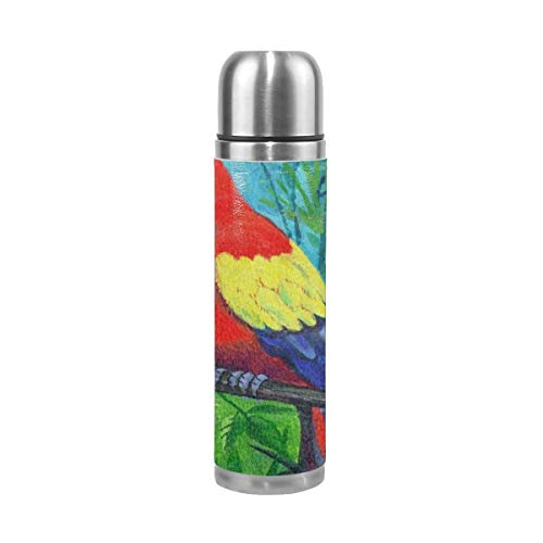 Colorful Parrot Bird Macaw On Tree Stainless Steel Water Bottle Vacuum Insulated Double Walled Leak-Proof Bottle Keeps Drinks Hot and Cold