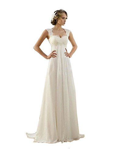 Meledy Women's A Line Sweetheart Straps Sleeveless Lace Chiffon Boho Beach Floor Length Wedding Dress Prom Party Gown White (A-line Straps Sweetheart Sleeveless)