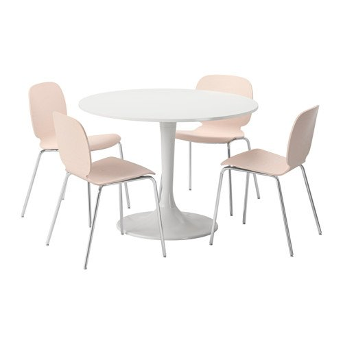 Ikea Table and 4 chairs, white, birch 20204.11220.622