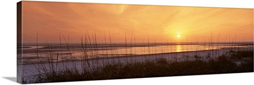 Canvas On Demand Premium Thick-Wrap Canvas Wall Art Print entitled Sunset over Gulf of Mexico Tigertail Public Beach Marco Island Florida (Island Furniture Florida)