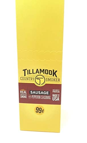 (Tillamook Country Smoker Beef Jerky Pepperoni Sausage Stick 24-1oz Individually Wrapped Sticks. 1.5LBS Total Bulk)