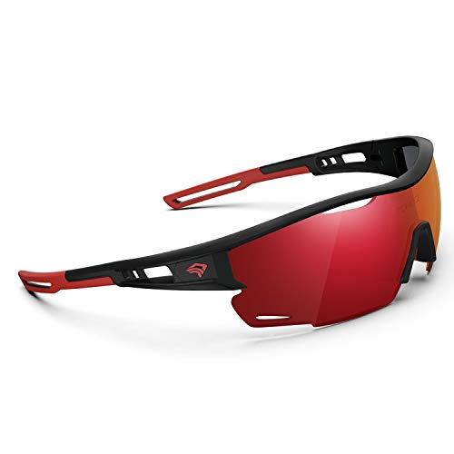 Polarized Sports Sunglasses for Men Women - UV Protection Cycling Sunglasses for Running Fishing Cycling Driving Baseball Golf Glasses TR90 Frame TR21 SNIPER (Extinction Black&Red&Red Revo lens)