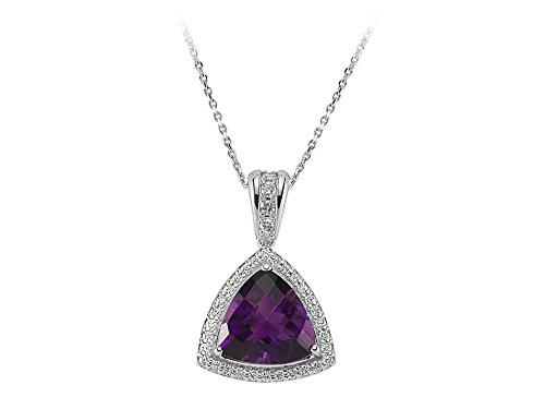 Pendentif Améthyste Coupe Triangle et Diamants-Femme- or Blanc 223P0016