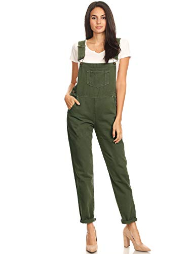 Anna-Kaci Womens Vintage Distressed Skinny Leg Denim Overalls with Pockets,Olive Green,X-Large