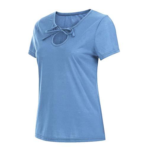 Manche Chemisier Courte En Décontractée Bleu Clair nbsp;t Poachers Sexy Shirts Femme nbsp;solide Bow Col Tee Casual T Slim Haut shirt V shirt qnSx7YXw