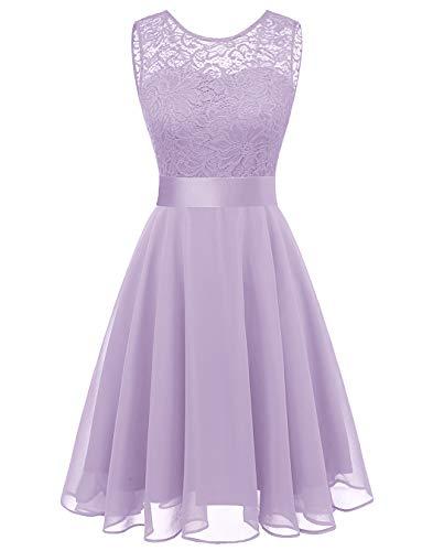 - BeryLove Women's Short Floral Lace Bridesmaid Dress A-line Swing Party DressBLP7005LavenderM