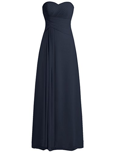 Designer Wong Dresses Sue (Cdress Women's Sweetheart Bridesmaid Dresses Long Chiffon Prom Evening Formal Gowns Navy US 28W)