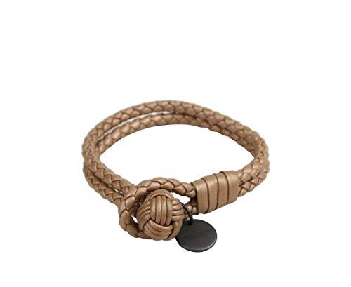 Bottega Veneta Women's Beige Metallic Leather Braided Bracelet 113546 2722