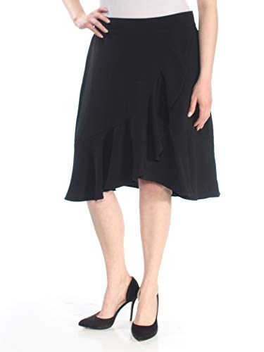 - Nine West Women's Crepe Asymetrical Ruffle Skirt, Black, 16