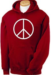 Peace Sign Symbol Hoody Sweatshirt - Scarlet Red, XL