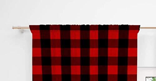 AllTot Red and Black Plaid Curtain Valance Handmade in The USA