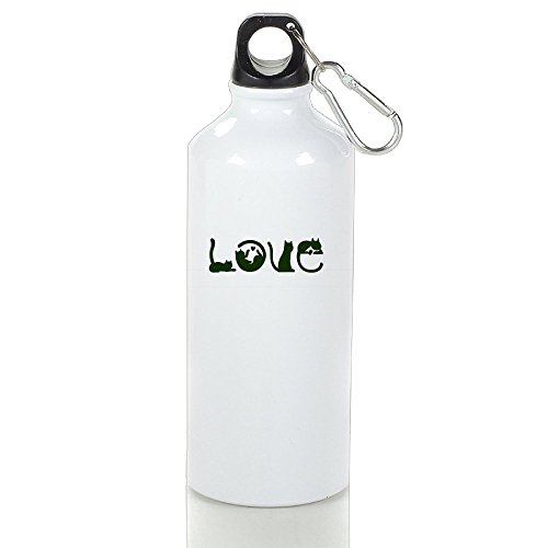 SIHA Dos LOVA Cats Love Aluminum Sport Water Bottle, Great For Outdoor And Sport Activities. Metal Hook On The Top 500ml