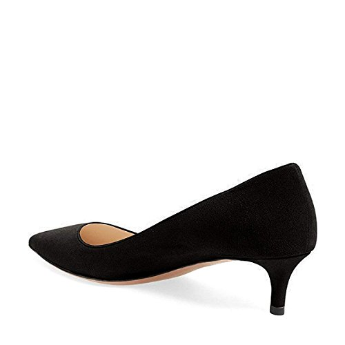 Women Pointed Dress Suede Heel Low for Shoes Toe Black Lady Soft Kitten Pumps Office YDN xZHTH