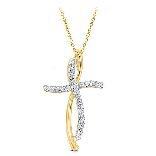 Triss Jewelry 1/4 Cttw Diamonds Cross Pendant Necklace For Women In 10K Yellow Gold.