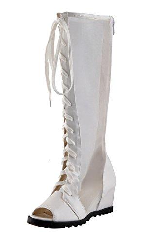 Compensees Moyen Sandales Lacets Peep à Rond Femmes de UH Blanc Fermeture et Confort Bout Eclair Bottines Talons Toe vfcqcdz