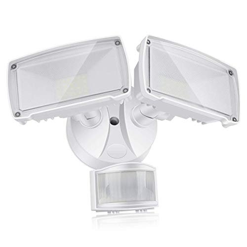 LED Motion Sensor Flood Light, Motion Activated Outdoor Security Light with 2 Adjustable Heads, 22W 1600LM 5000k Daylight White Exterior Motion Detector Light Fixture for Patio Driveway Yard Garage