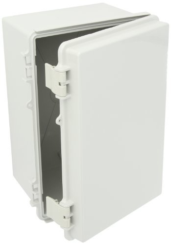 BUD Industries NBF-32318 Plastic Outdoor NEMA Economy Box with Solid Door, 11-51/64 Length x 7-55/64 Width x 6-9/32 Height, Light Gray Finish by BUD Industries