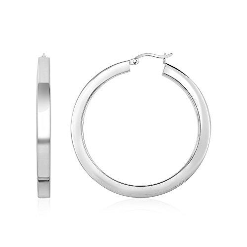 (Mia Diamonds High Polish Tube Hoop Earrings in 925 Sterling)