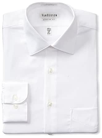 "Van Heusen Men's Lux Sateen Regular Fit Solid Spread Collar Dress Shirt, White, 14.5"" Neck  32""-33"" Sleeve"