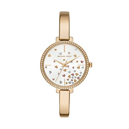 (Michael Kors Women Jaryn Quartz Stainless Steel Gold with Gold Rose Gold Silver White Dial Watch MK3977)