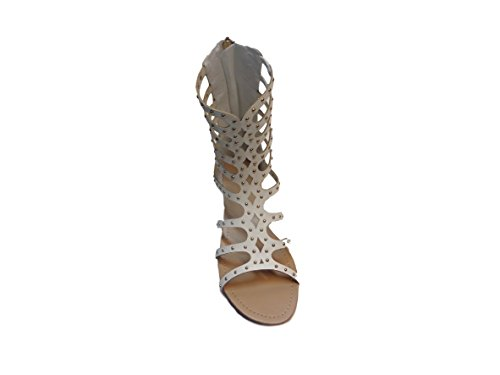white Calf 8 Mid Wanted Womans 5 Gladiator Sandal Studded with Cero Straps gBxBwtPqz