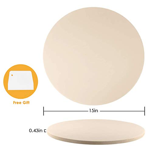 Lirradight Pizza Stone, Durable Pizza Grilling Stone, None Smelling Pizza Pan Perfect for Oven and Grills, Shock Resistant, 15 Inch Baking Stone