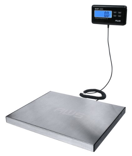 American Weigh Scale AWS Digital Heavy Duty Shipping Postal Scale, Stainless Steel, 330lbs X 0.1lbs